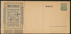 Reich Privatganzsache PP 51 G1 015 Wertgutschein Reklame Germania kpl mit Coupon