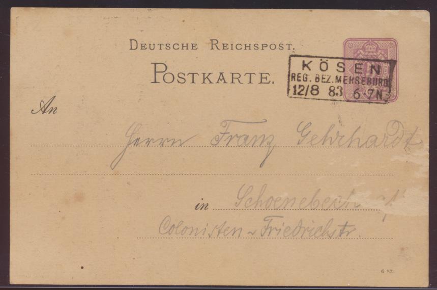 Reich Privatganzsache PP 4 F22 01 inter. Variante RUDELSBURG R3 Kösen Schönebeck 1