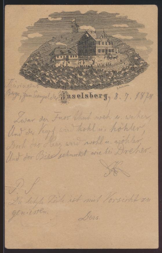 Dt. Reich Privatganzsache PP 4 F10 01 Vorläufer Ansichtskarte Inselsberg sehr 0