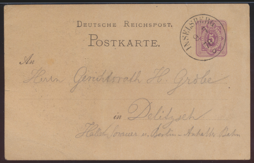Dt. Reich Privatganzsache PP 4 F10 01 Vorläufer Ansichtskarte Inselsberg sehr 1