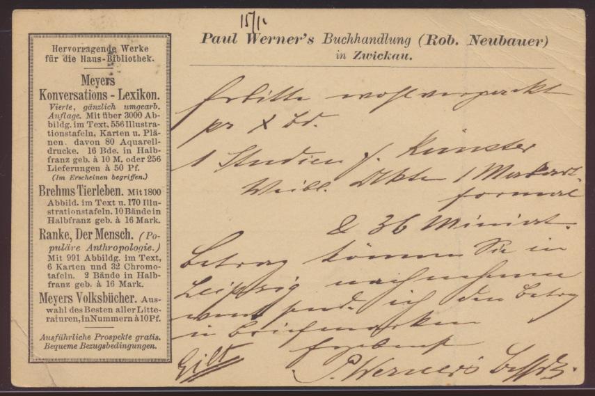 Dt Reich wie Privatganzsache PP 6 Paul Werners Buchhandlung Zwickau Reklame 1887 0