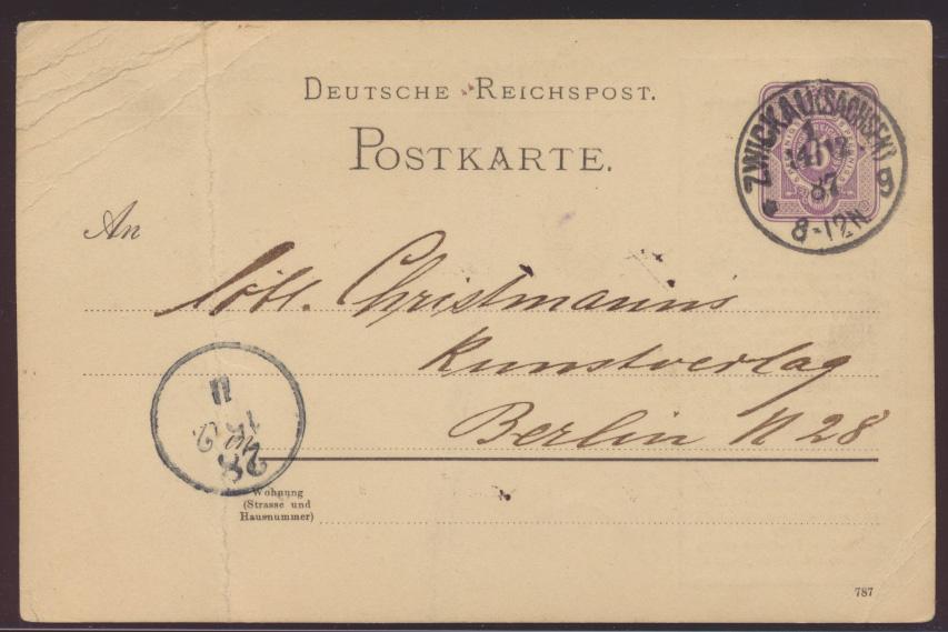 Dt Reich wie Privatganzsache PP 6 Paul Werners Buchhandlung Zwickau Reklame 1887 1