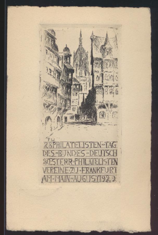 Originalradierung Reich Privatganzsache Frankfurt Philatelistentag Büttenkarton  0