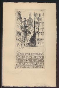 Originalradierung Reich Privatganzsache Frankfurt Philatelistentag Büttenkarton