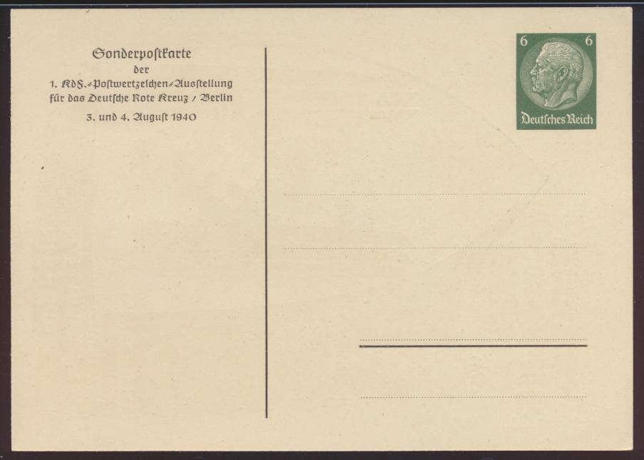 Propaganda Reich Privatganzsache PP 127C52 Rotes Kreuz KDF Ausstellung Künstler  1