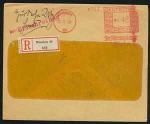 Deutsches Reich R Brief Absenderfreistempel München 22 042 Reichsmark 20.6.1934