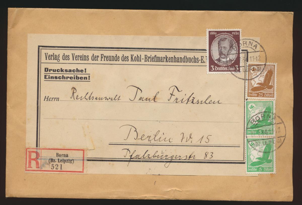 D. Reich R Brief MIF Flugpost Adler Nothilfe Kolonialforscher Borna Berlin 0