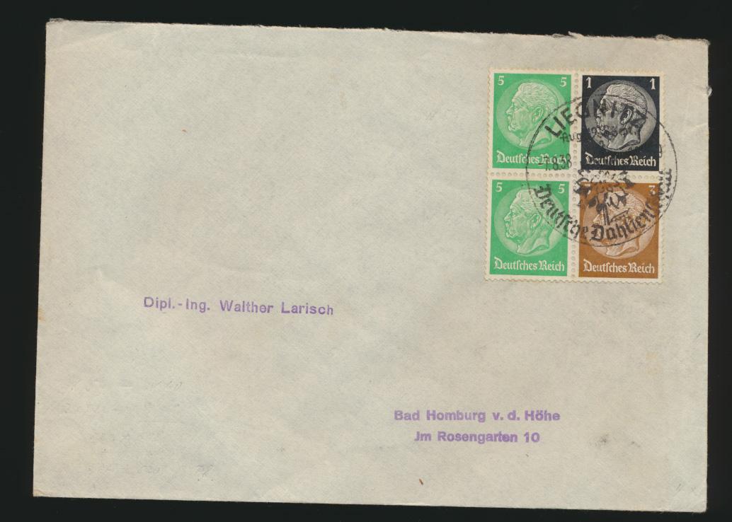 Reich Zusammendruck Brief Hindenburg selt. St Liegnitz Dt. Dahlienschau Homberg  0