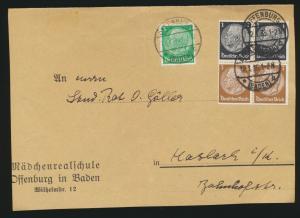 Deutsches Reich Zusammendruck Brief Hindenburg Offenburg nach Hasbach auf