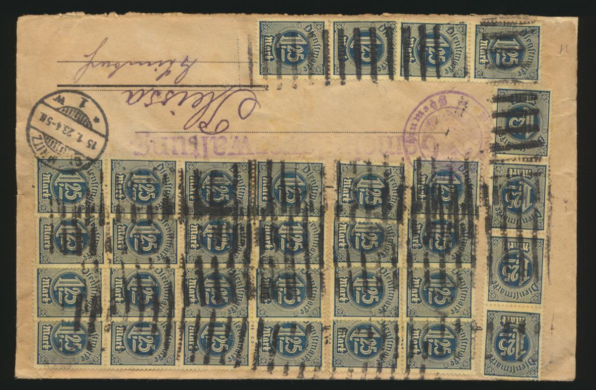 Reich Dienst Brief MEF 40mal Nr. 31 1. Tag Periode 15.1.1923 n. Pleissa Sachsen 0