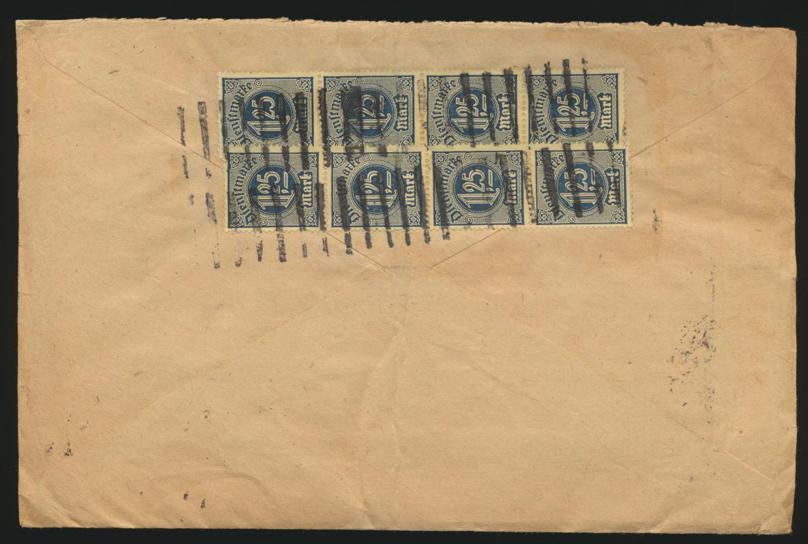 Reich Dienst Brief MEF 40mal Nr. 31 1. Tag Periode 15.1.1923 n. Pleissa Sachsen 1