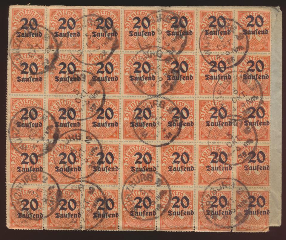 Reich Dienst Brief MEF 40mal Nr. 90 Ortsbrief Würzburg verschobener Aufdruck   0