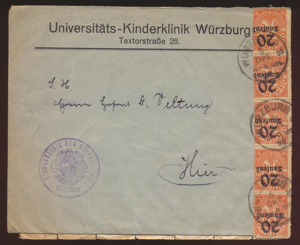 Reich Dienst Brief MEF 40mal Nr. 90 Ortsbrief Würzburg verschobener Aufdruck   1