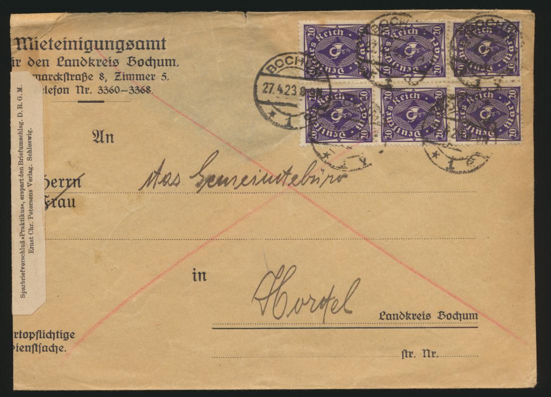 Reich Brief MEF 230 W 230 W 6er Block Bochum nach Horstel Kat.-Wert  460,00 0