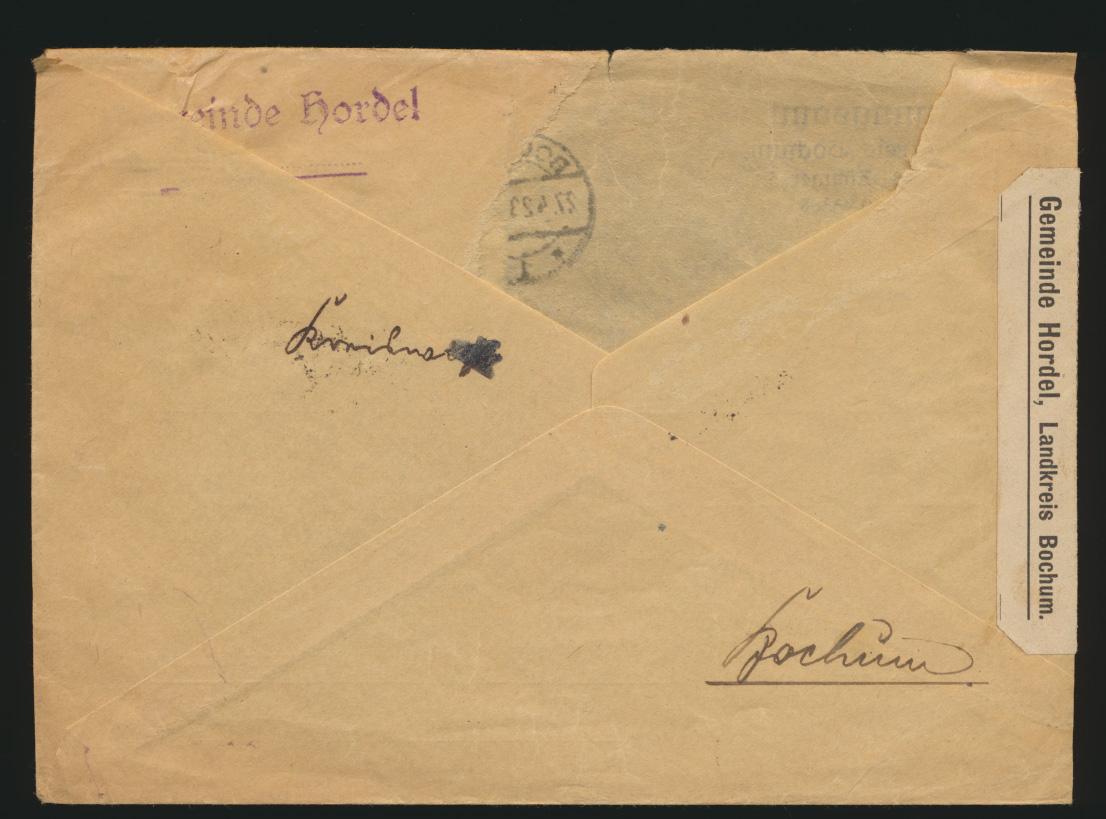 Reich Brief MEF 230 W 230 W 6er Block Bochum nach Horstel Kat.-Wert  460,00 1