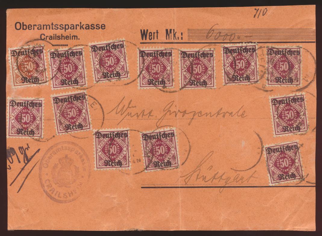 D. Reich Infla Dienst D 56 13mal auf Wertbriefvorderseite Crailsheim Stuttgart   0