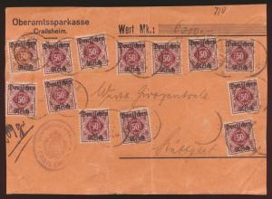 D. Reich Infla Dienst D 56 13mal auf Wertbriefvorderseite Crailsheim Stuttgart