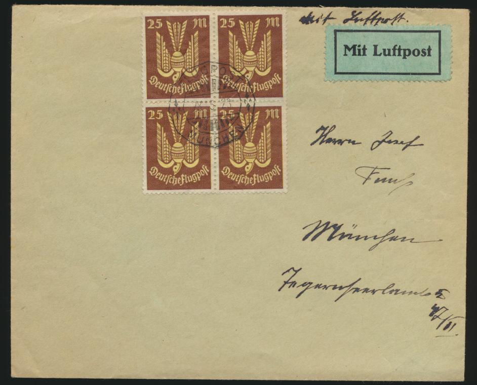 Flugpost Deutsches Reich Holztaube Brief Viererblock 236 München 28.5.1923 0