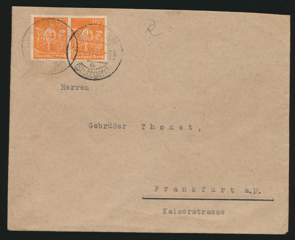Deutsches Reich Brief MEF 169 Stuttgart von Untertürkheim nach Frankfurt 0