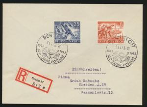 Postsache Reich R Brief MIF Heldengedenktag SST Berlin 100 Jahre Postamt Dresden