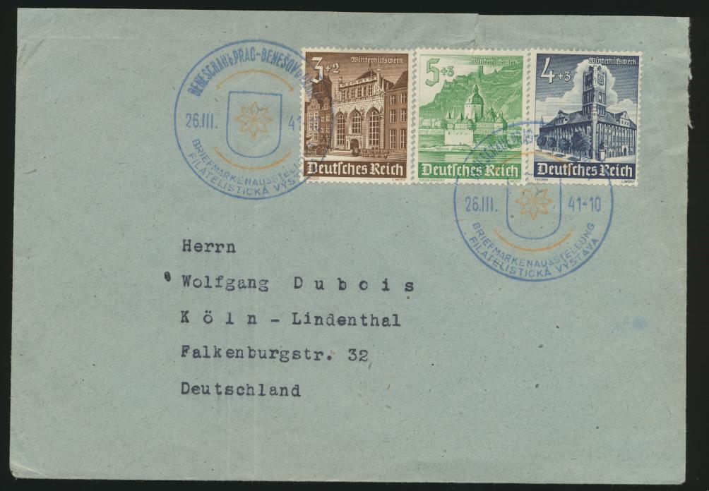D. Reich Brief MIF 3-Farben Frankatur  WHW mit SST Prag Briefmarkenausstellung 0