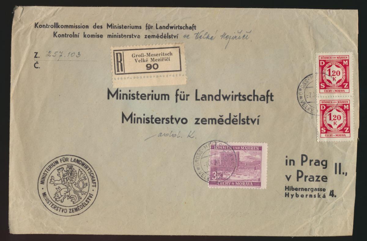 Besetzung Böhmen & Mähren R Brief Groß Meseritsch nach Prag  0