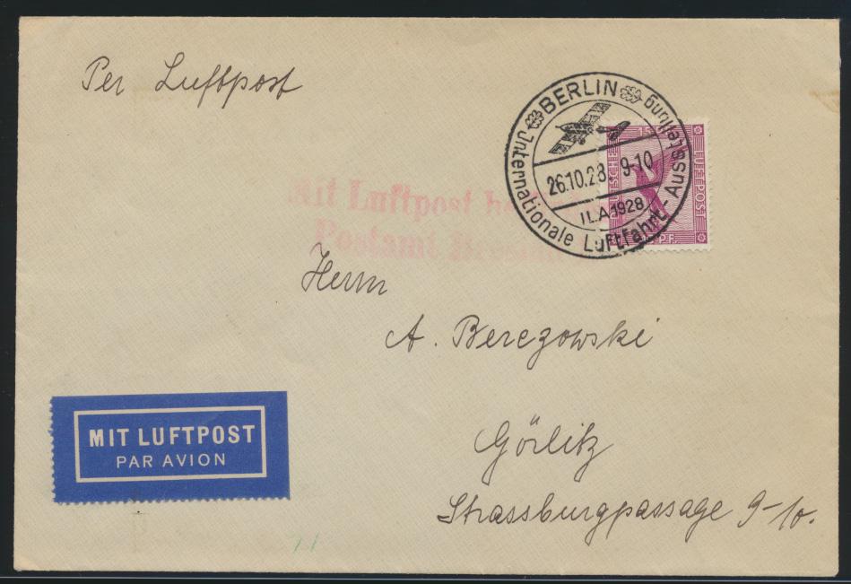 Flugpost Brief EF 15 Pfg. Adler SST Berlin ILA Luftfahrt Ausstellung n. Görlitz 0