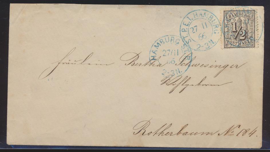 Hamburg Brief EF 10 selt blauer Stadtpostexpedition ST.P.E.I. + 700,00 + ST.P.  0