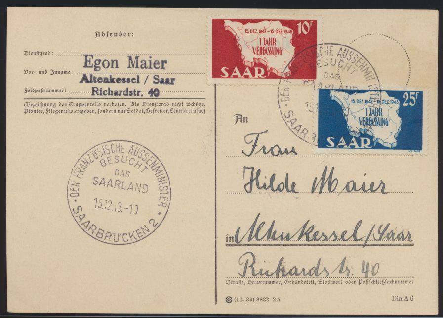 Saarland Brief FDC Karte 260-261 Verfassung SST Französche Außenminister 50,00 0