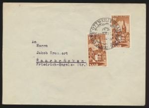 Saarland Brief MEF 296 SST Ottweiler nach Saarbrücken
