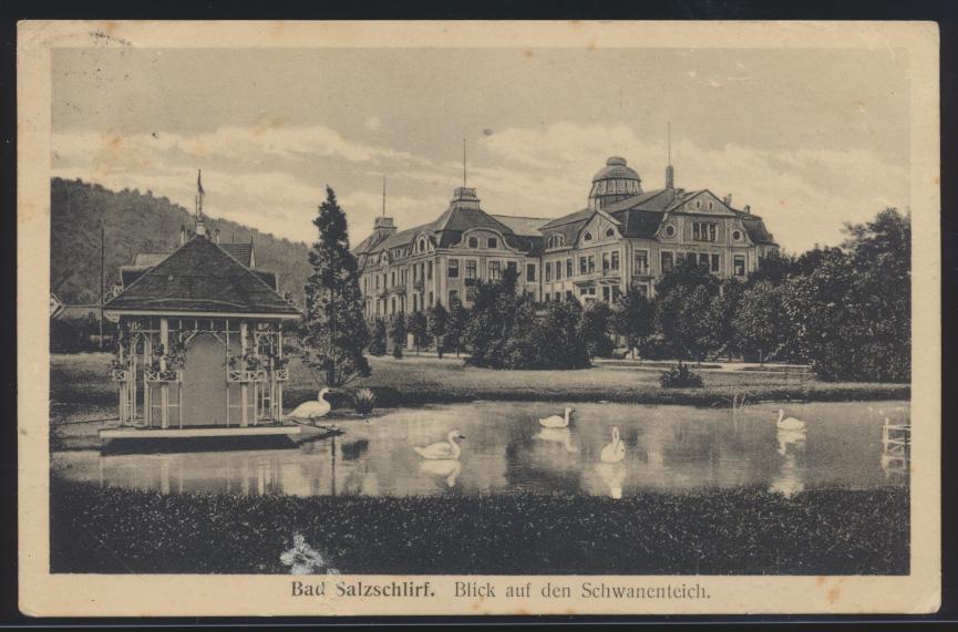 Ansichtskarte Salzschlirf Hessen nach Somborn 1914 0