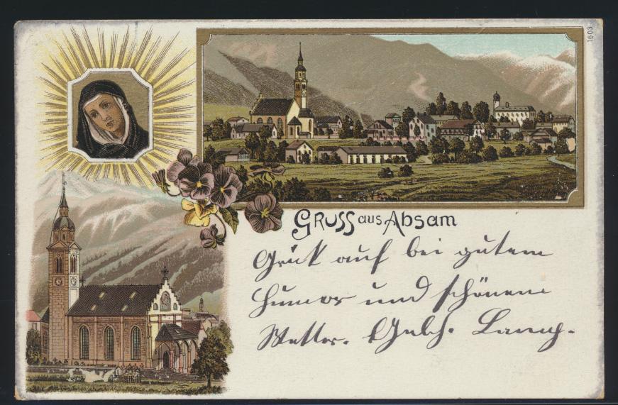 Ansichtskarte Absam Österreich Tirol Litho Kirche  0
