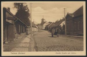 Ansichtskarte Tuckum Kurland Ostgebiete Tukums Lettland Große Str Pferdegespann