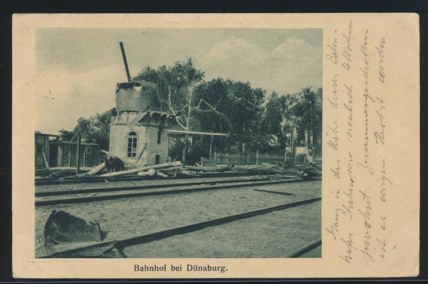 Ansichtskarte Dünaburg Bahnhof Daugavpils Lettland R3 Feldpost n. Hastenstein 0