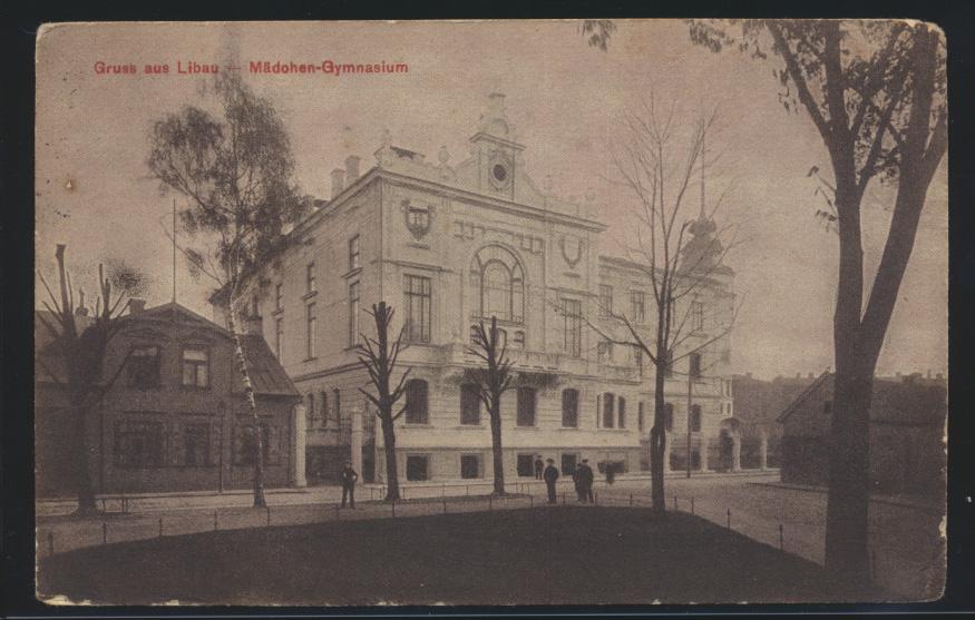 Ansichtskarte Libau Liepāja Lettland Mädchen Gymnasium Felpost n Eberswalde 1916 0
