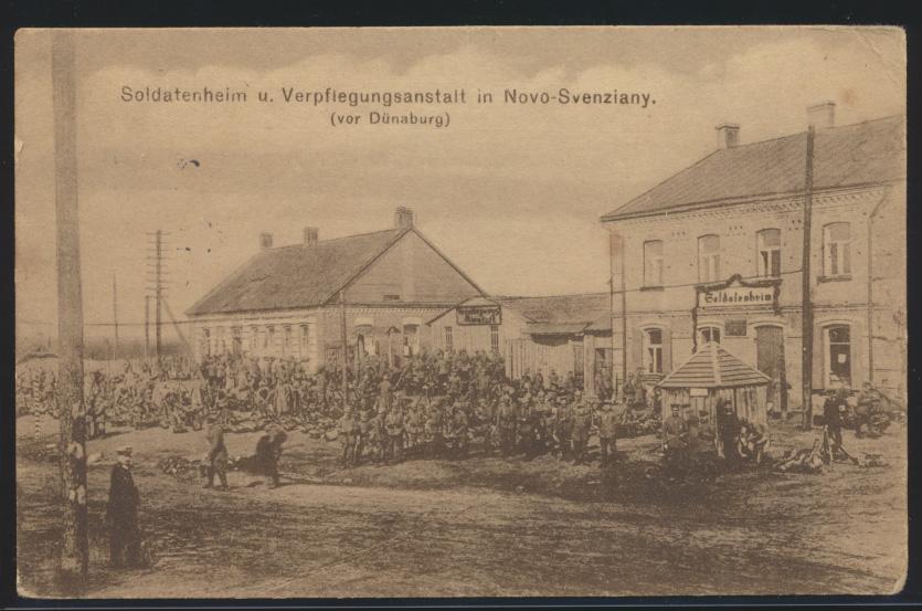 Militaria Ansichtskarte Novo Svenziany Dünaberg Lettland Feldpost n. Berlin 1916 0