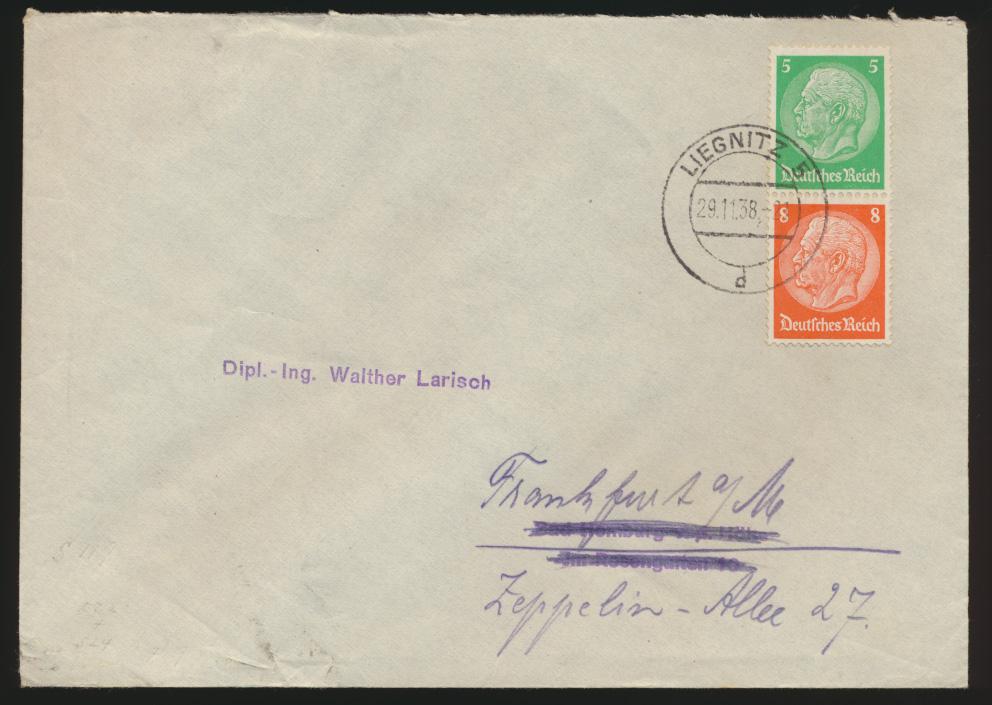 Deutsches Reich Brief Zusammendruck Hindenburg Liegnitz Schlesien Bad Homburg 0