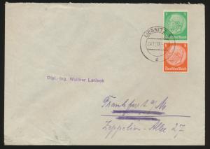 Deutsches Reich Brief Zusammendruck Hindenburg Liegnitz Schlesien Bad Homburg