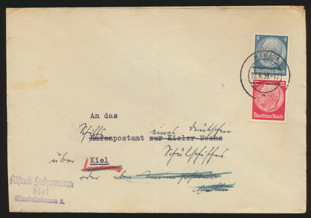 D. Reich Brief Zusammendruck Hindenburg S 163 Kiel 22.6.1938 0