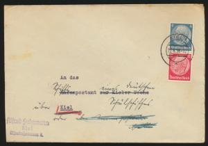 D. Reich Brief Zusammendruck Hindenburg S 163 Kiel 22.6.1938