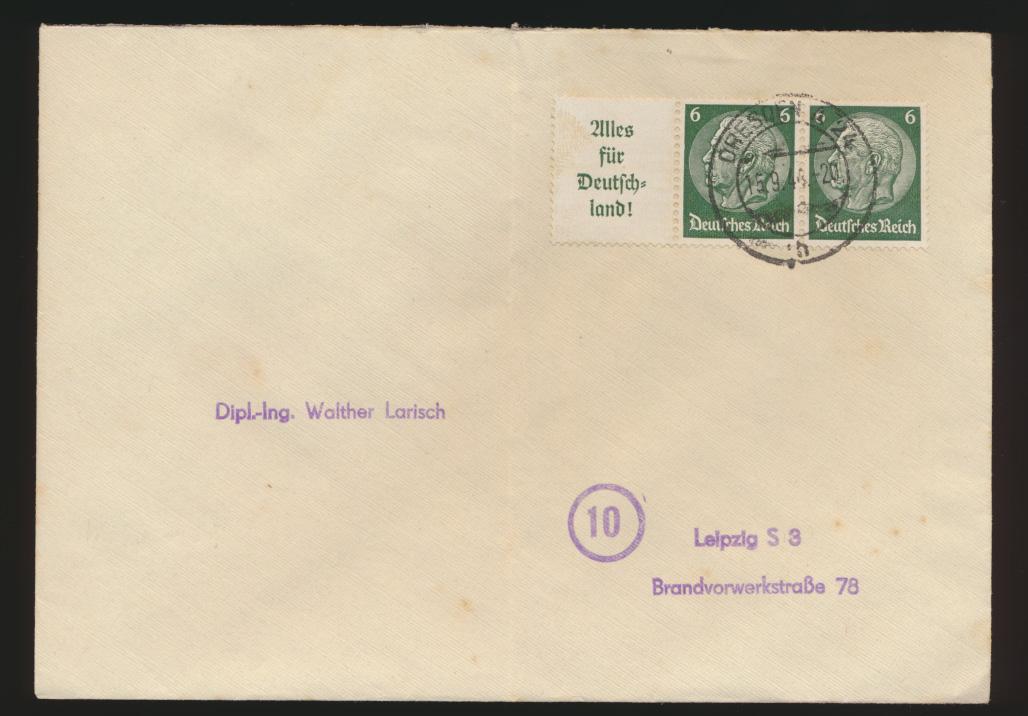 Reich Brief Zusammendruck Hindenburg W 66 Dreden Leipzig 15.9.1944 0