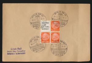 Reich Brief Zusammendruck Hindenburg 4x guter SST Kongress Handeslkammer Berlin