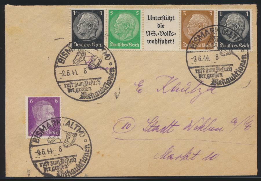 Pferde Reich Brief Zusammendruck Hindenburg selt. SST Bismark Viehauktionen  0