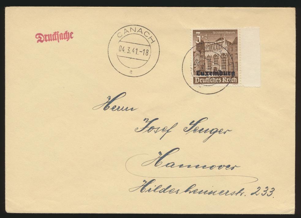 Besetzung 2. Weltkrieg Luxemburg Brief Drucksache EF 33 WHW Canach nach Hannover 0
