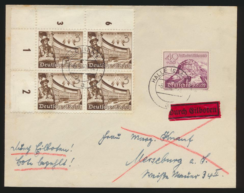 Reich Bogenecke Eckrand Eilboten Bote bezahlt Brief Halle Saale n. Merseburg  0