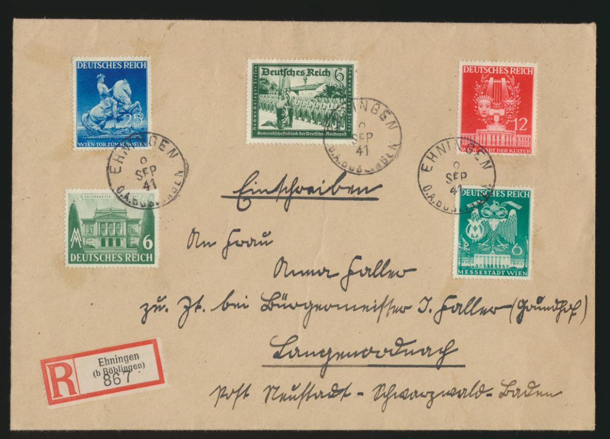 Reich R Brief MIF WHW Kameradschaftsblock Wien Frühjahrsmesse Ehningen Neustadt 0
