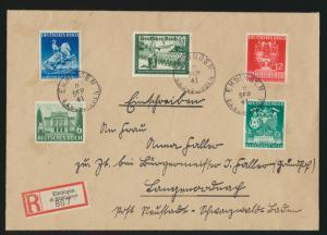 Reich R Brief MIF WHW Kameradschaftsblock Wien Frühjahrsmesse Ehningen Neustadt