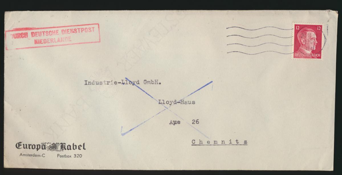 Besetzung Dienstpost Niederlande Reich Amsterdam nach Chemnitz Feldpost 1942 0