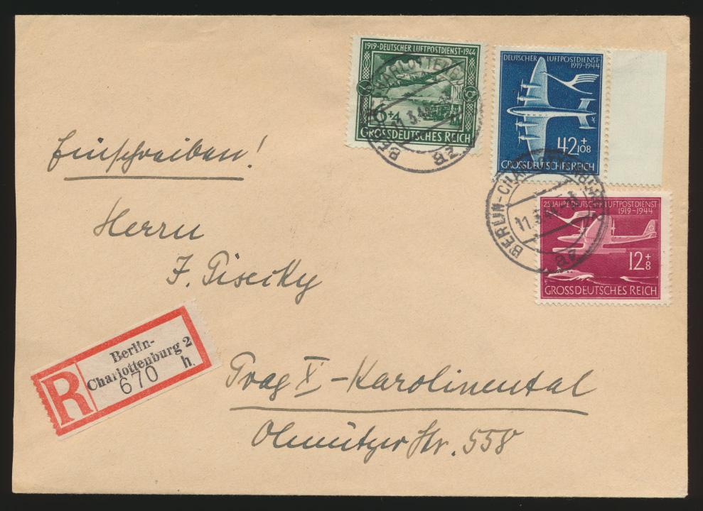 Flugpost D. Reich R Brief 866-868 Luftpostdienst Berlin nach Prag Tschechien 0
