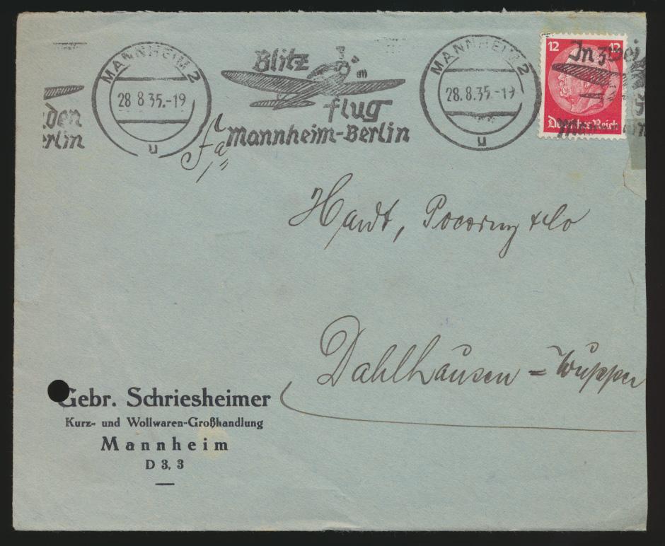 Flugpost D. Reich selt. Werbestempel Blitz Flug Mannheim Berlin n. Dahlhausen 0